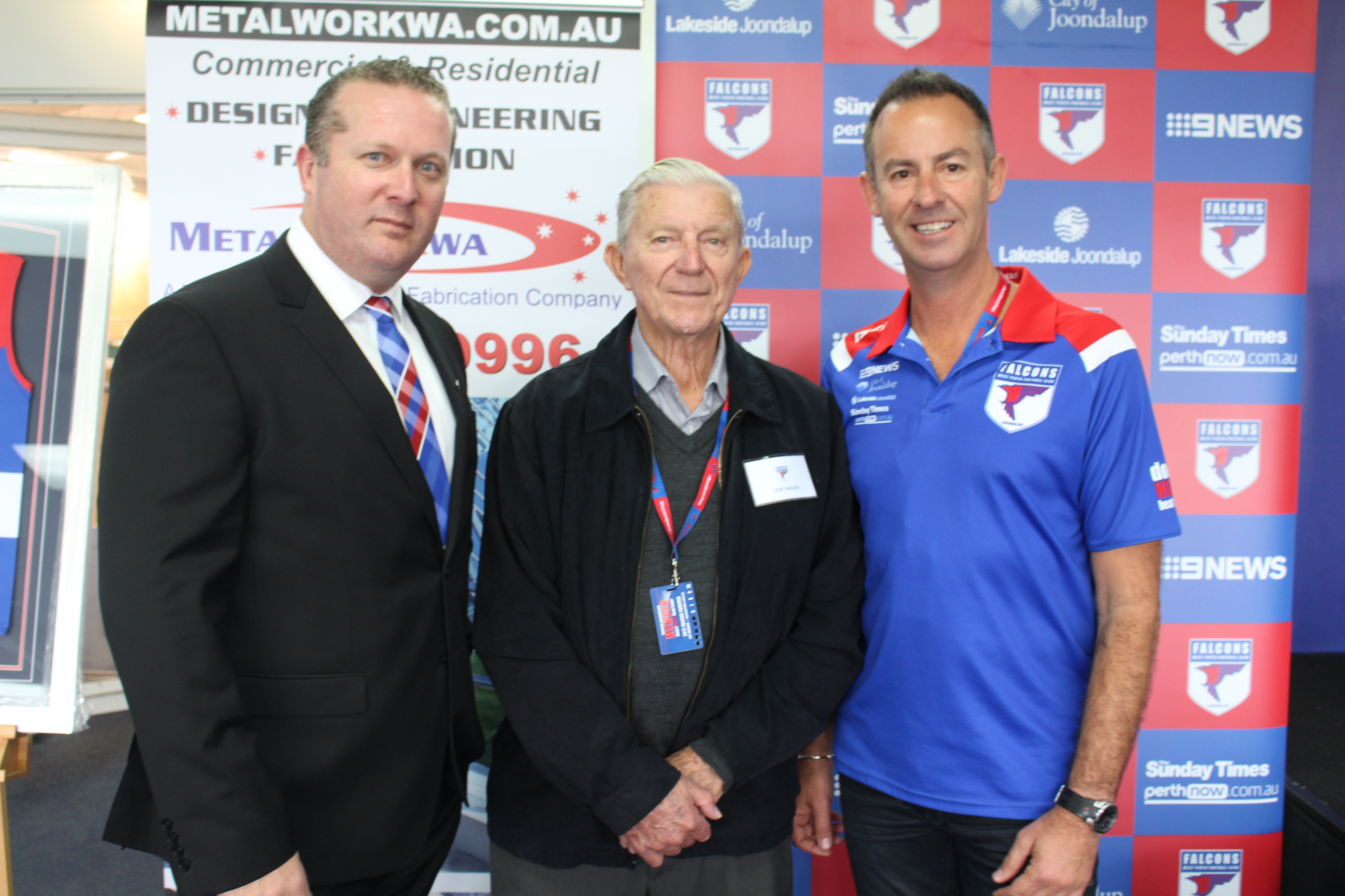 West Perth president Scott Ballem with past presidents Lew Hasler and Brett Raponi.