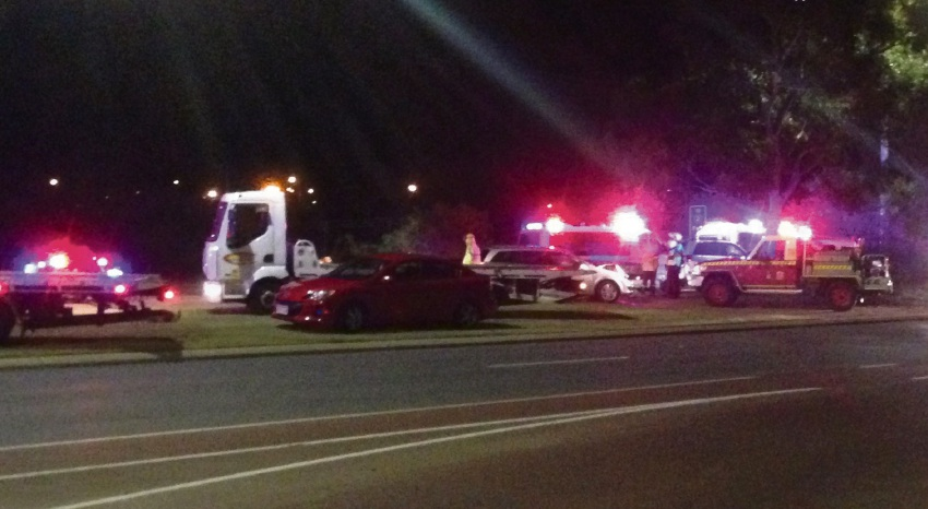 Two women were injured in this three-car crash on Joondalup Drive last Thursday.