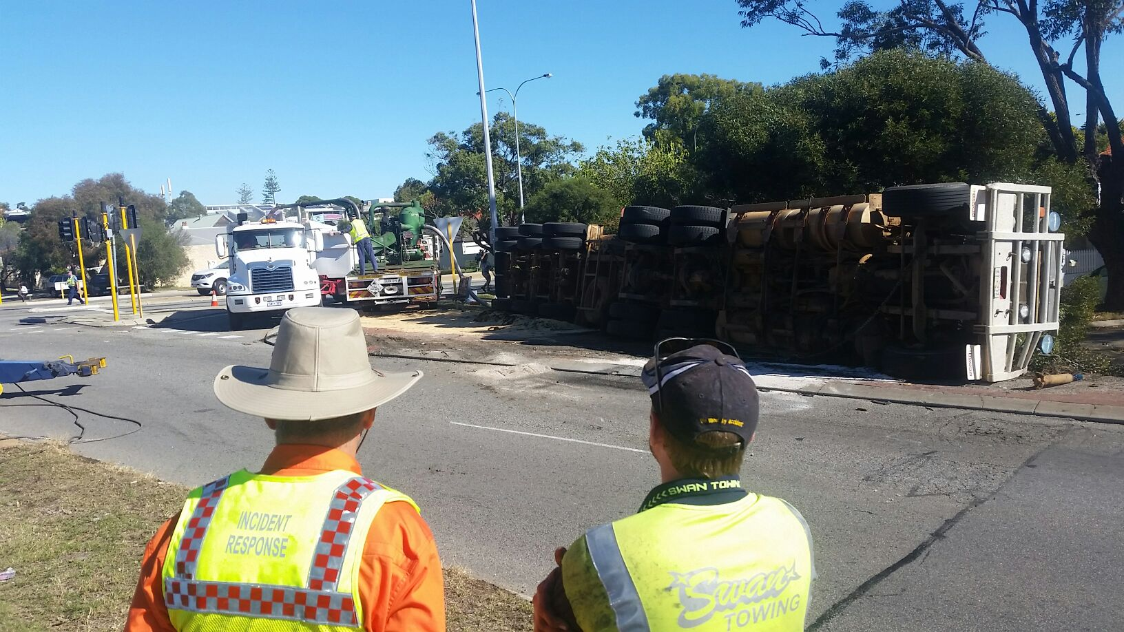The aftermath of the truck rollover in Fremantle. Photo: Jon Bassett