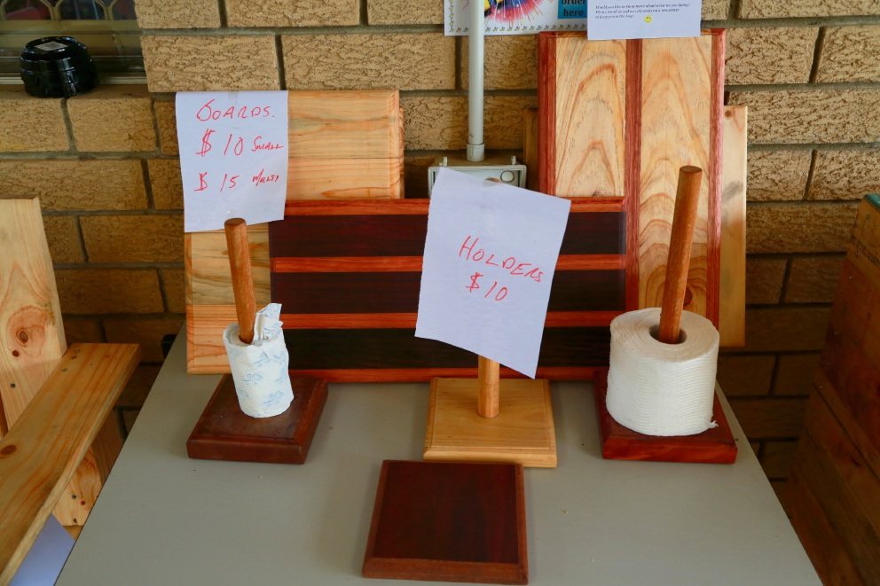 Yanchep Community Men's Shed members have been making wooden items to sell.