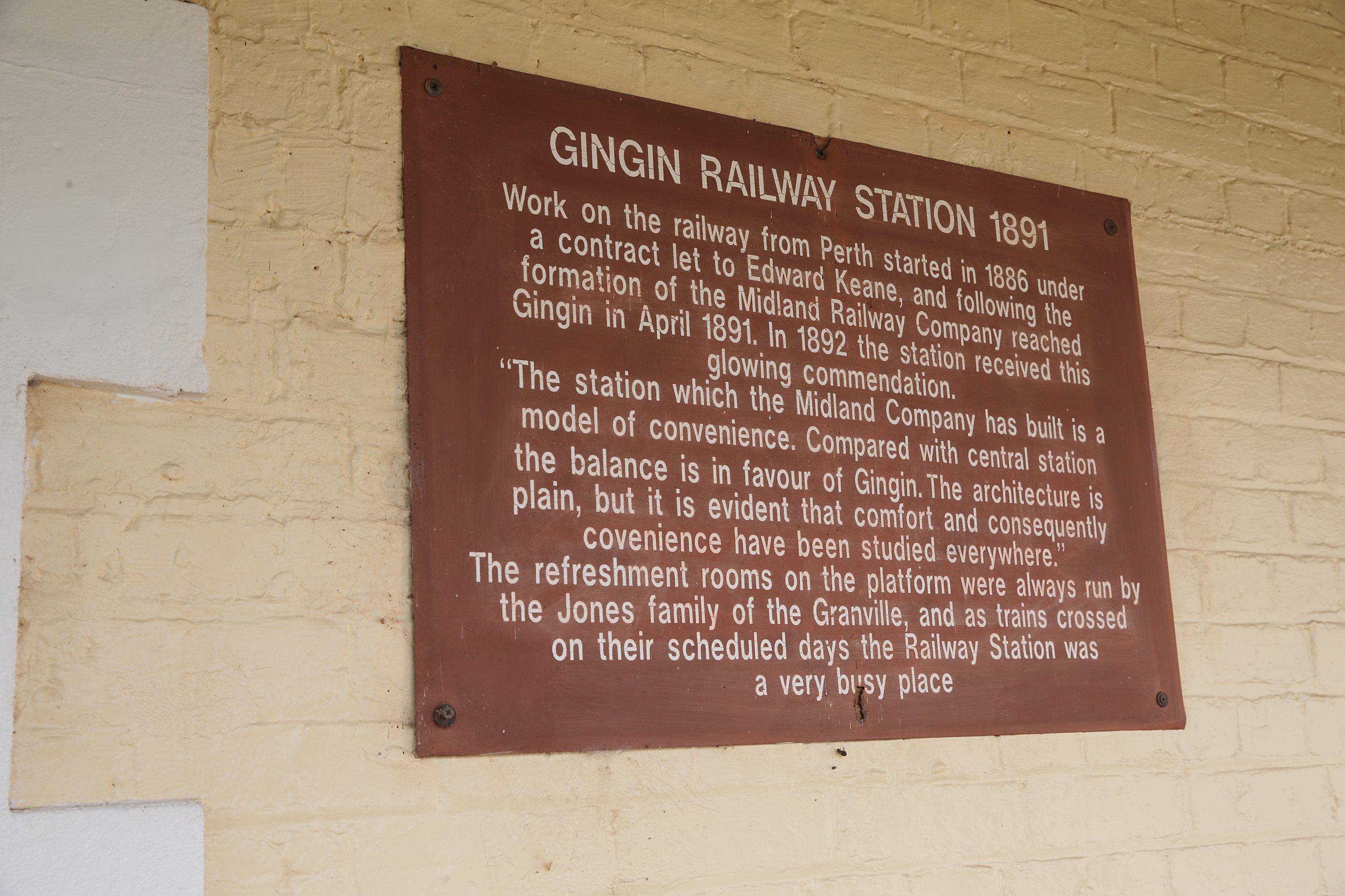 Plaque at the Gingin Railway Station. Picture: Martin Kennealey