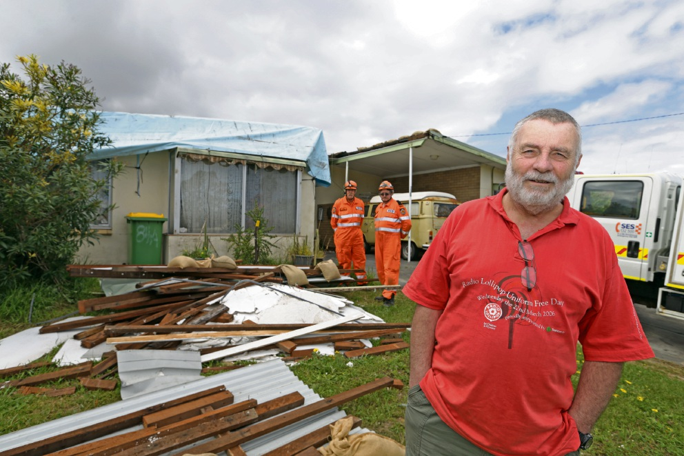 Peter Baterip's Spearwood home was damaged during wild weather in September, 2014.