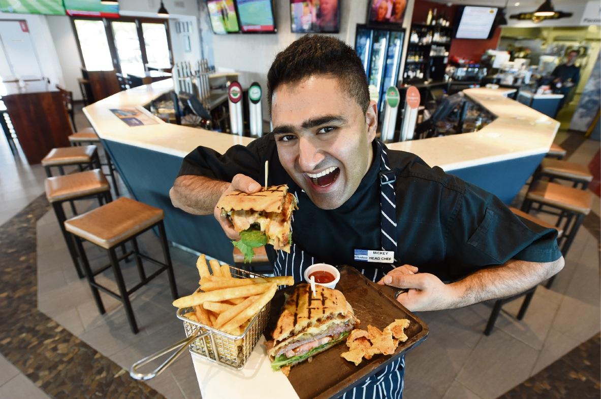 Head chef Mickey Phull with the winning steak sandwich. Picture: Jon Hewson d469558