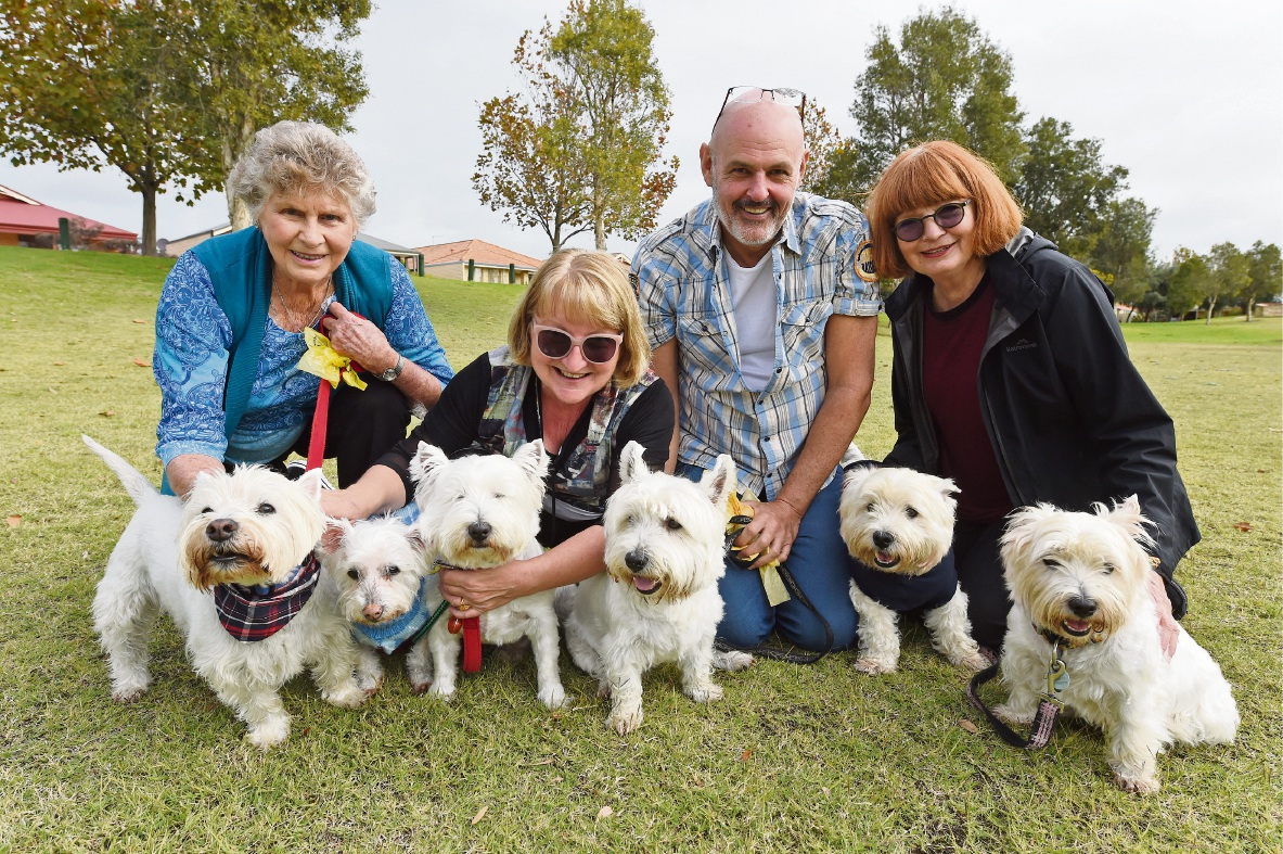 June Petchell, Deb Crane, Brett Goodsell and Jean McKay with their beloved pets. Picture: Jon Hewson www.communitypix.com.au   d469479