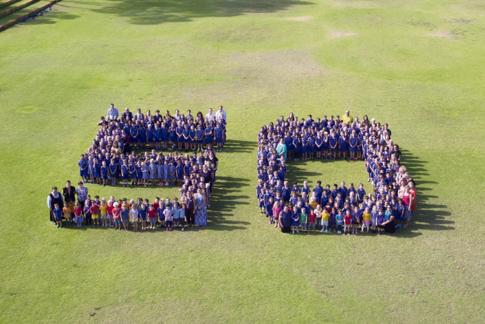 Booragoon Primary School staff and students spelled out a giant 50 as part of celebrations for the school's 50th anniversary. Picture: Richard Bazen, www.nationaldrones.com.au