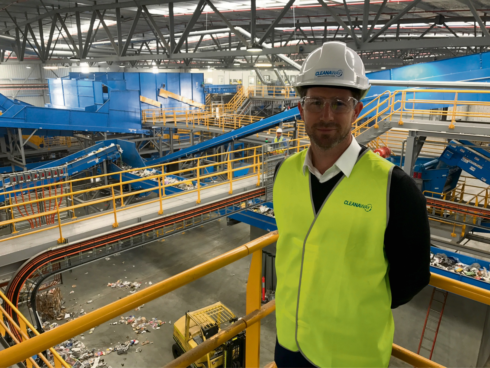 Cleanaway general manager David Williamson at new materials recovery facility.