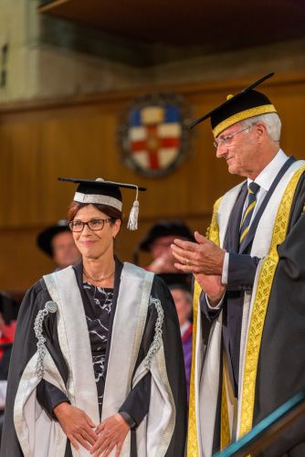 New vice-chancellor Professor Dawn Freshwater with Chancellor Michael Chaney at the robing ceremony.