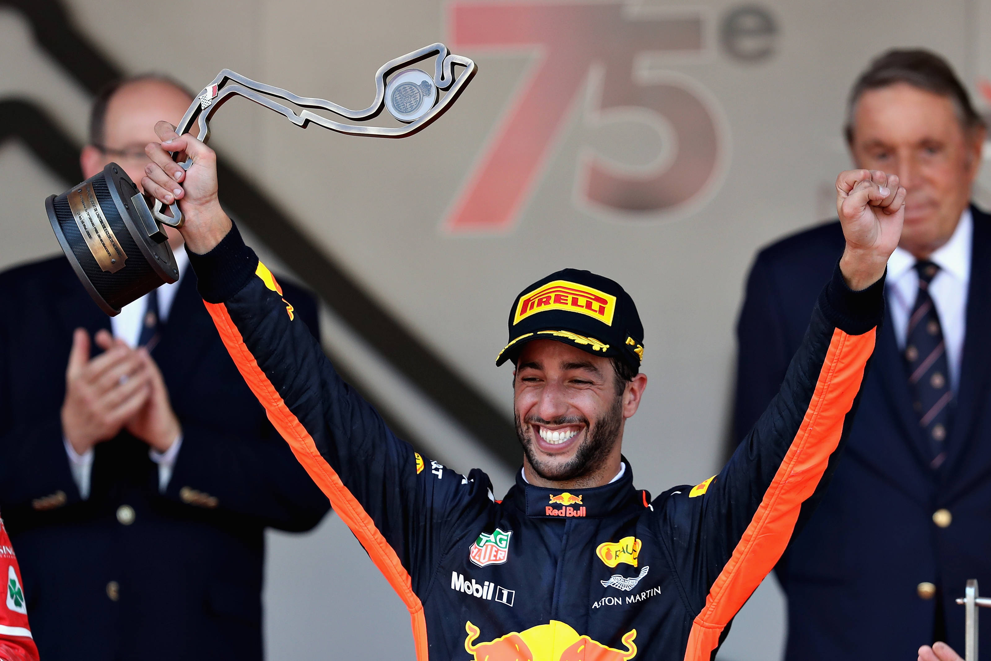 A delighted Daniel Ricciardo shows his trophy on the podium at Monaco. Picture: Getty Images
