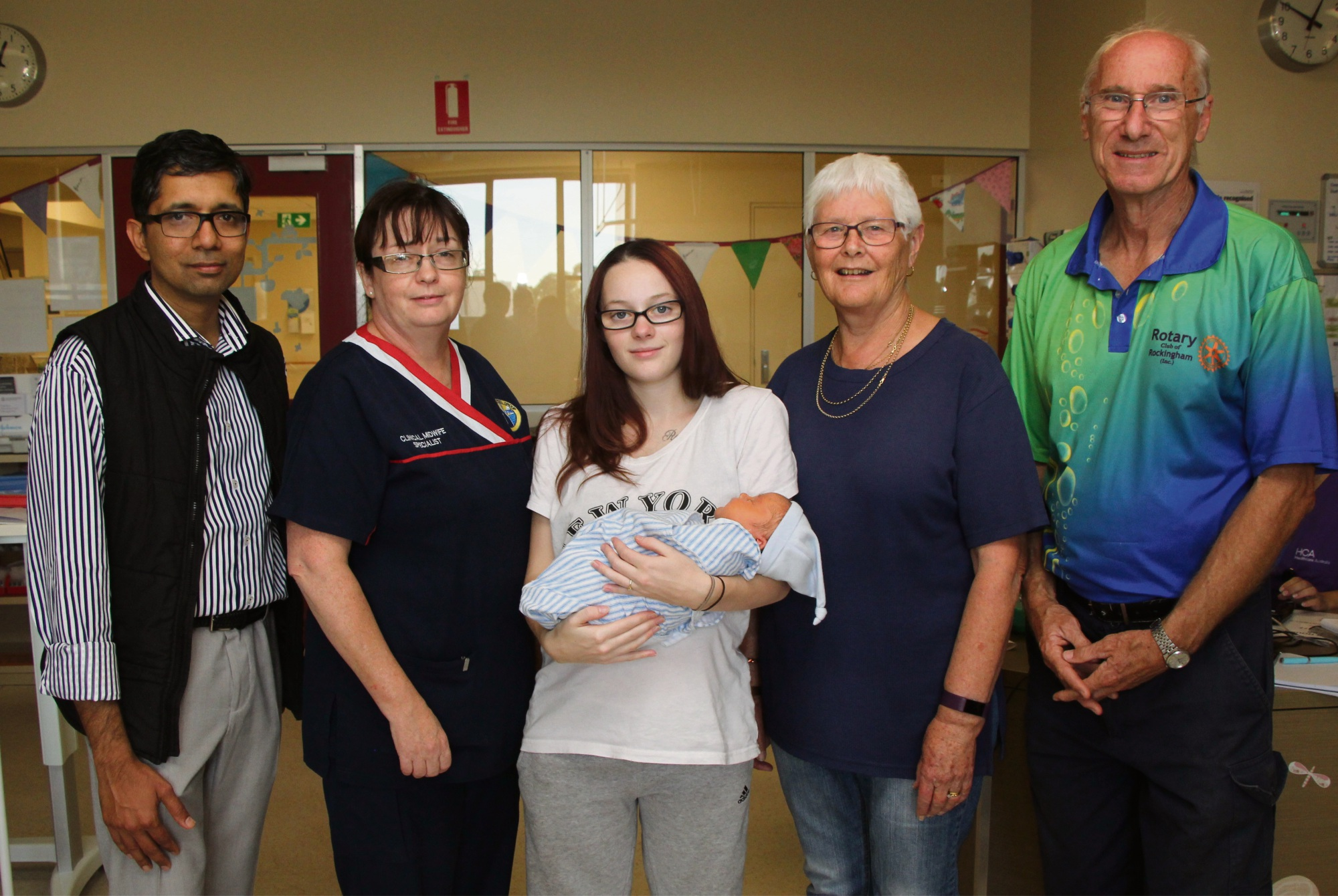 Paediatrics consultant Dr Murali Narayanan, clinical midwifery specialist Elaine Kottler, mum Emily Elliot with son Noah, Rockingham Rotary member Beth Phillips and Rockingham Rotary community services director Darrel Donavan.