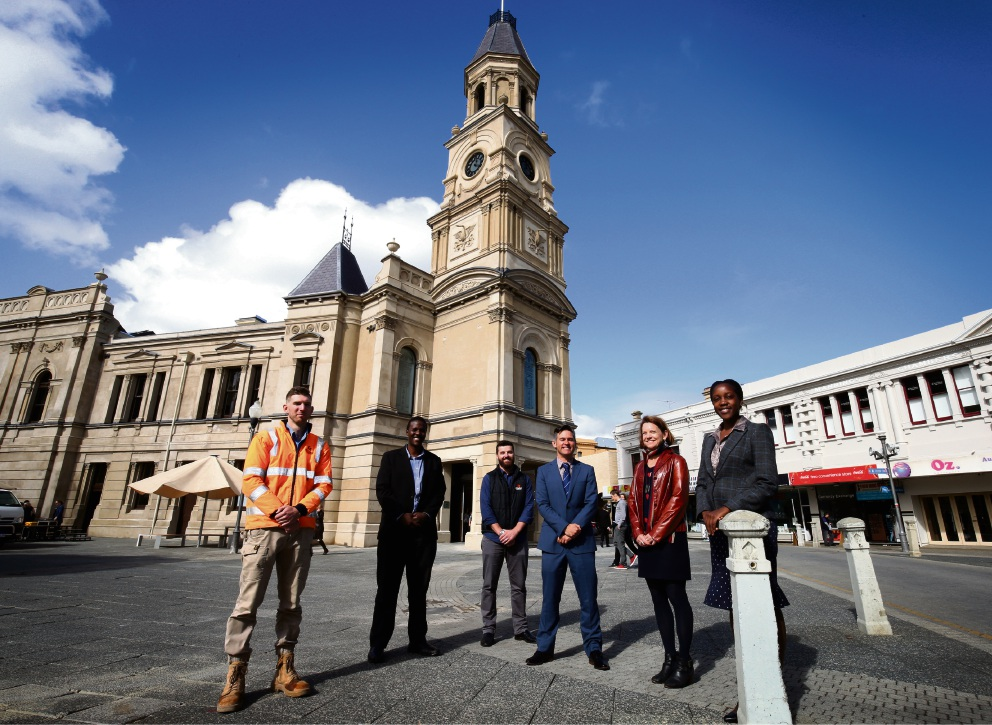 Zac Ashwood, Mark Nyaanga, Jarrad Anderson, Fremantle Mayor Brad Pettit, Gena Binet and Dinah Mujati at the town hall.     d467648