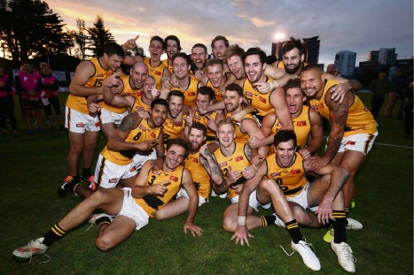 The WAFL state side celebrates the first win by a senior WA side over a Victorian team in Melbourne. Picture: Rob Prezioso/AFL Media