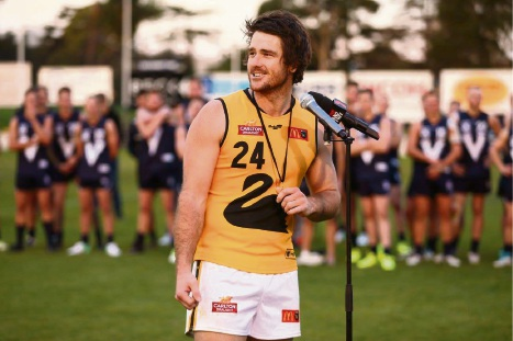 Ben Saunders claimed the Simpson medal for his six-goal effort against the VFL at North Port Oval on Saturday. Picture: Rob Prezioso/AFL Media