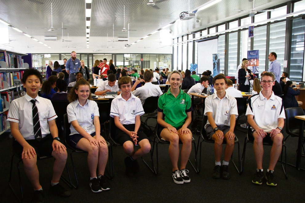 Hackathon students Ryan Lee (Joseph Banks Secondary College), Alyssa Yates (Ashdale Secondary College), Jayden Cook (Butler College), Tiana Matthews (Peter Moyes Anglican Community School), Jamie Grist (Irene McCormack Catholic College) and  Nathan Scholes (Wanneroo Secondary College).