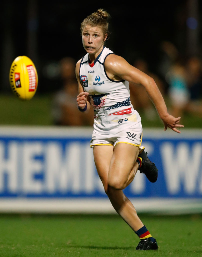 Kellie Gibson in action for Adelaide during its AFLW premiership-winning season. Picture: Michael Willson/AFL Media/Getty Images