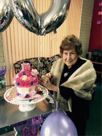 Carmel Newman celebrates her 100th birthday.