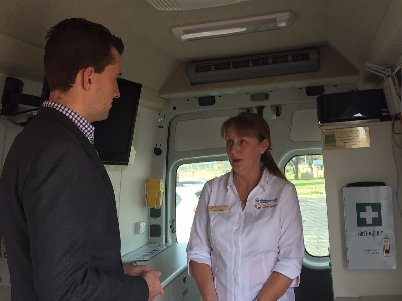 Dawesville MLA Zak Kirkup discusses the situation with GP Down South program coordinator Gail Frater.