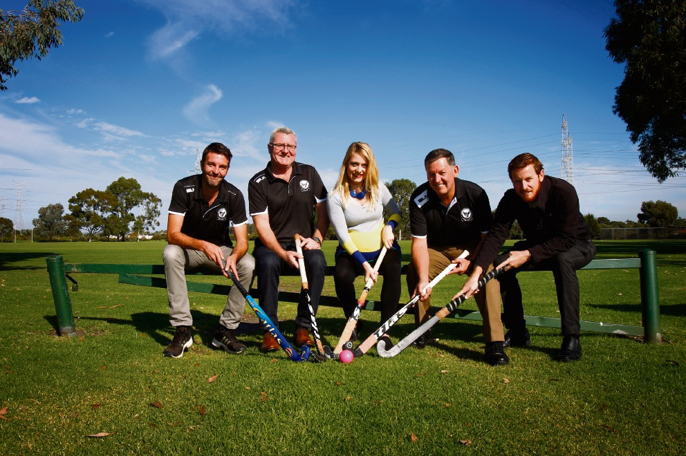 Fremantle Hockey Club vice president Matt Allan and president Rob McPherson, Cockburn councillor Chamonix Terblanche, Fremantle Hockey Club project manager Andrew Robertson and Cockburn co-ordinator recreation services Travis Moore. Picture: Marie Nirme