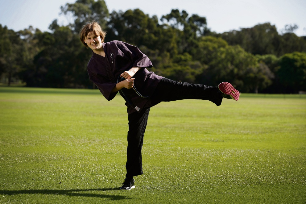 Charlotte Paterson (15) from Dianella received a scholarship for her Jujutsu. The scholarship will provide Charlotte tuition, equipment and seminars to continue her personal development. Picture: Andrew Ritchie