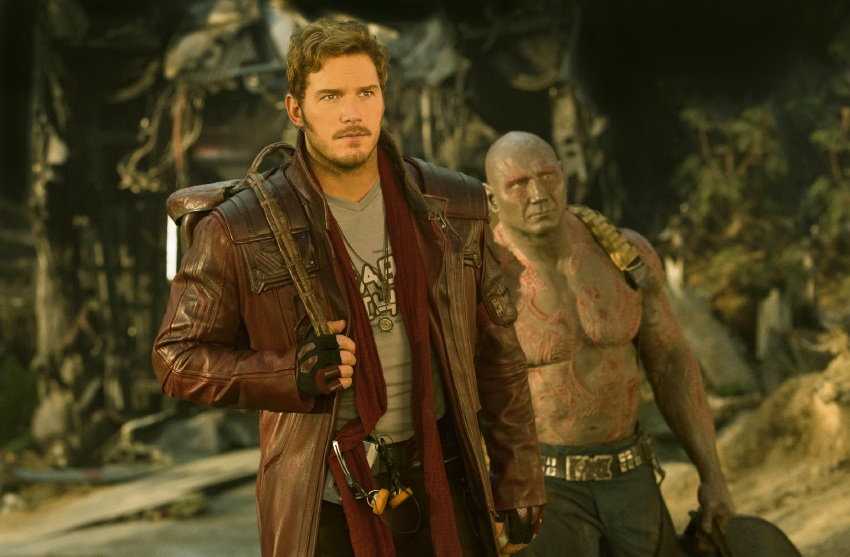 Chris Pratt and Dave Bautista in Guardians of the Galaxy Vol. 2.