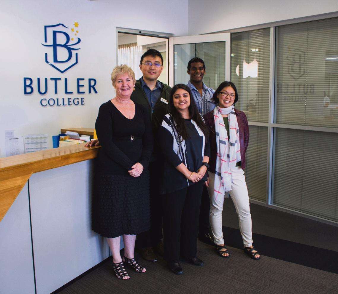 Butler College associate principal Helen Macri and researcher Rashmi Watson (centre) with PhD students Alex Zhang, Nicolas Nagloo and Faye Lim.