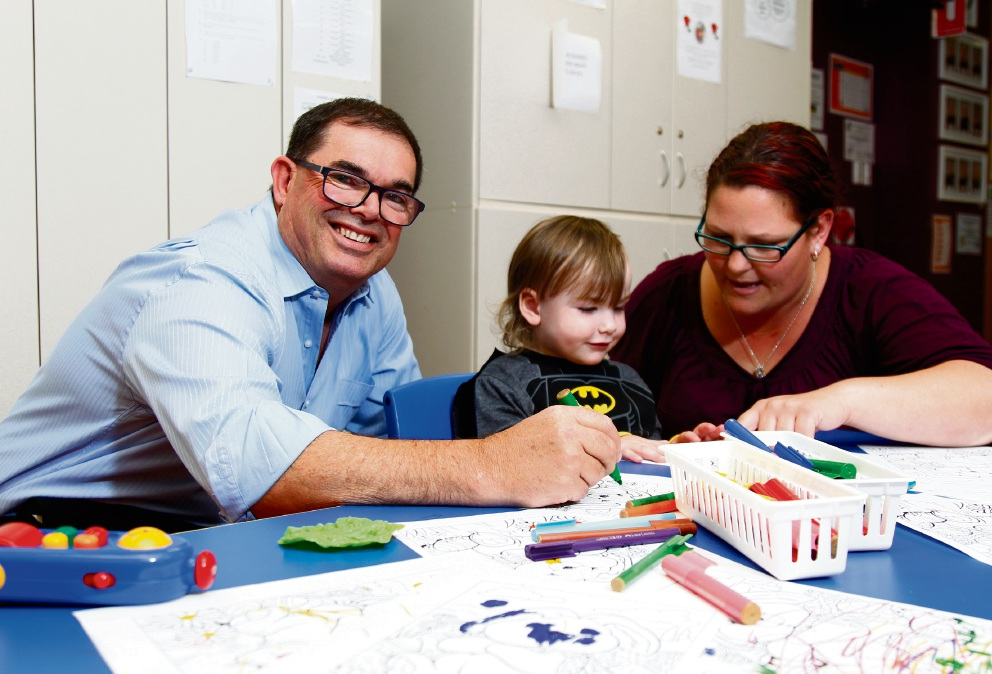 Suzie Scott having a chat with Xavier Chevron (3) and Martin Pritchard during a visit to the WA Deaf Society in East Perth. Picture: Marie Nirme