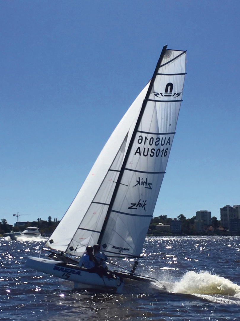 Georgia Payne and Daniel Brown in action on their Nacra15 catamaran.