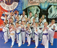 Port Kennedy taekwondo competitors at the open championships in Belmont.