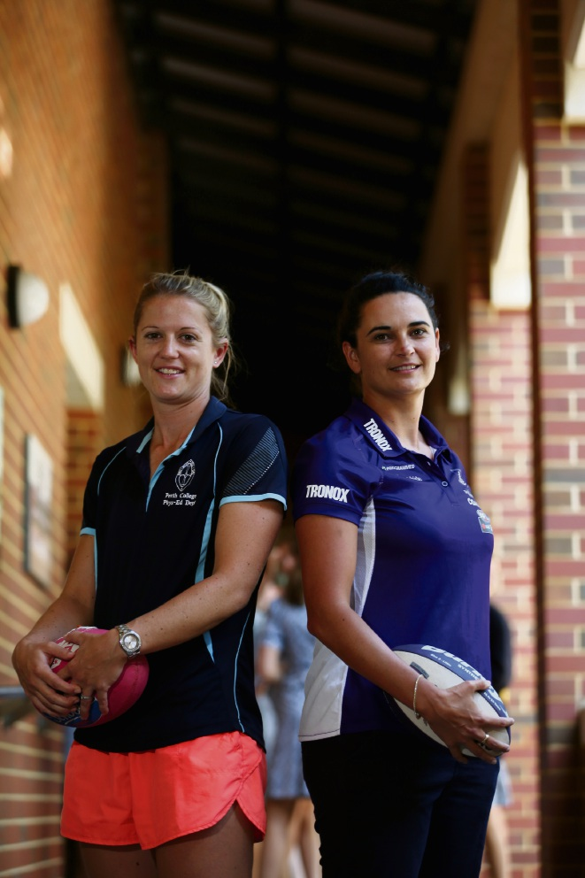 Perth College teacher and Fremantle Dockers AFLW player Amy Lavell with her team coach Michelle Cowan. Picture: Andrew Ritchie