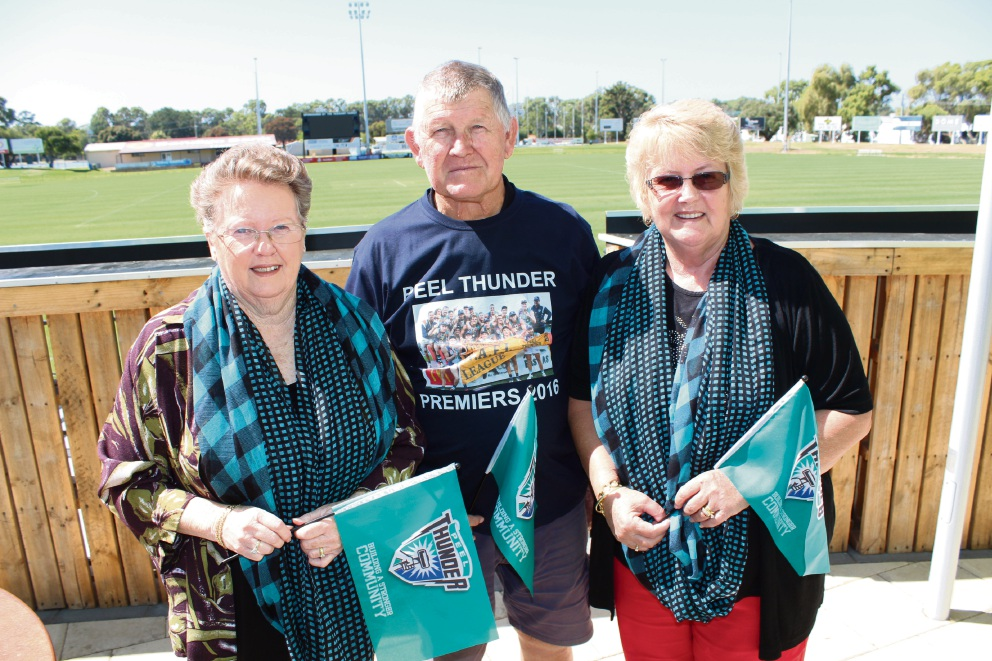 Peel Thunder volunteers Roz Cameron, Rod Hazell and Rose Bucktin are looking forward to the first home game of the season this Saturday.