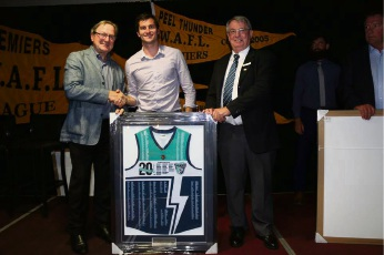 Football legend Kevin Sheedy at the Peel Football Club's 20-year reunion with former Peel Thunder and AFL player Farren Ray and club vice-president Dan Kirkwood. Picture: Cofo Foto.