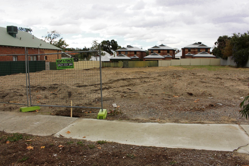 Ursula Frayne Catholic College. The cleared block in Teague Street.