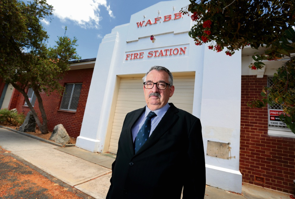 Former Captain of the Bassendean Volunteer Fire and Rescue Service Mike Smith at the old Bassendean Fire Station. There are calls to re-open the Bassendean Fire Station. Picture: David Baylis d463996