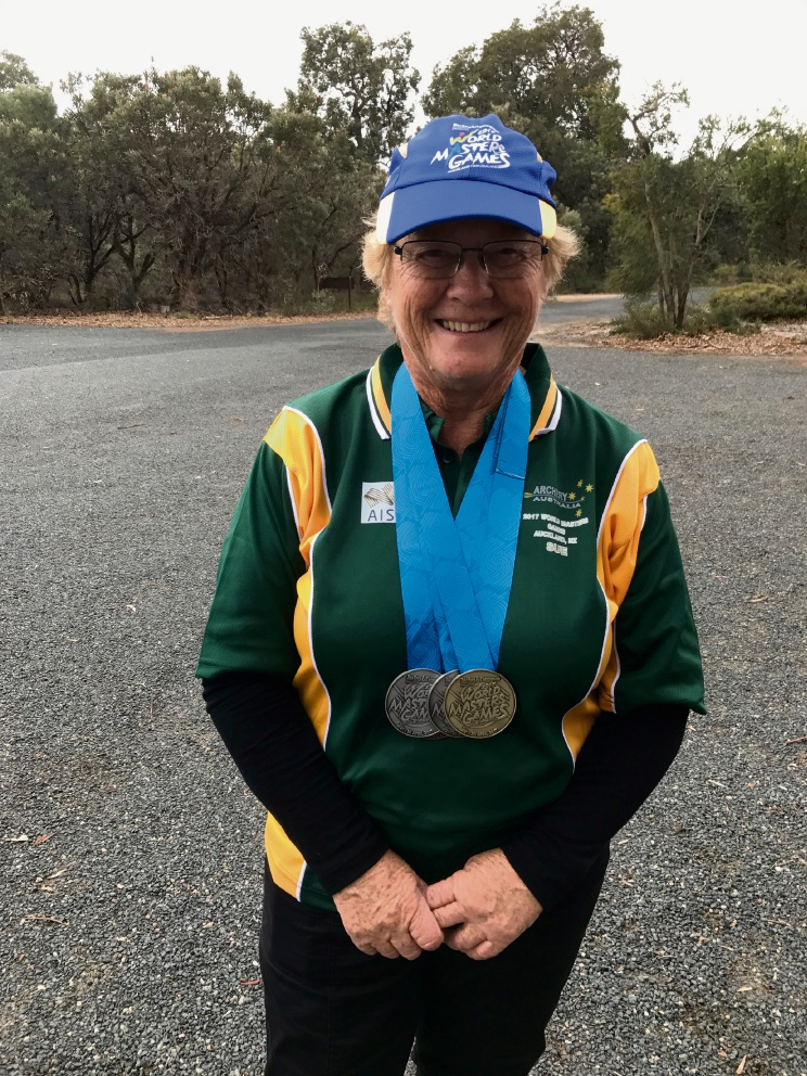 Sue Swains with her medals.