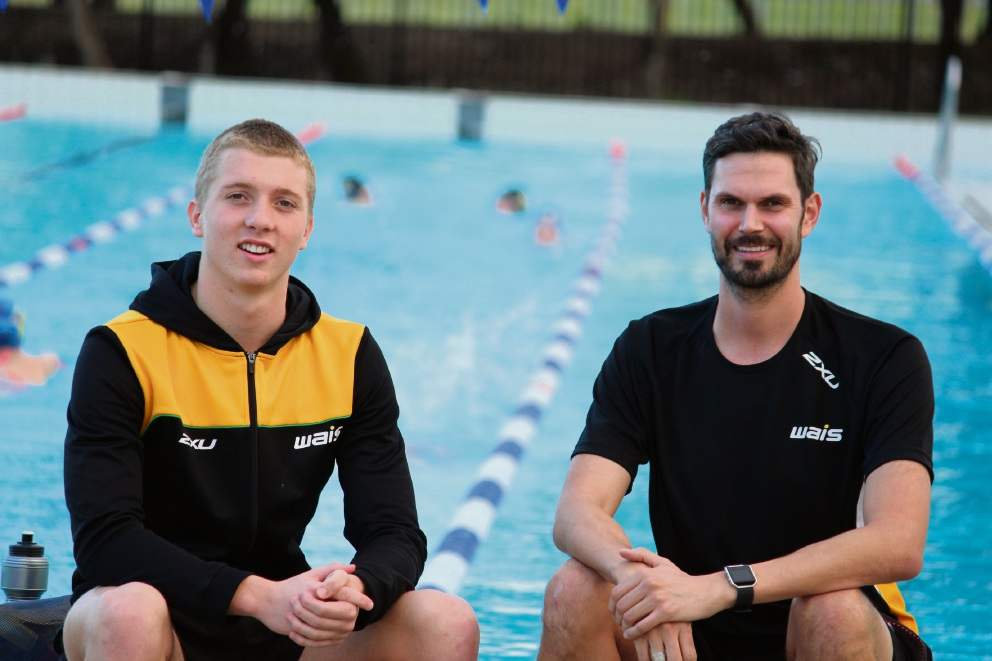 Ethan McAleese and WAIS coach Will Scott at Aqua Jetty last week.