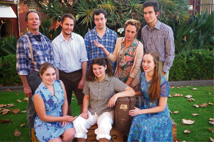 Kit Leake, left, Nathan Hambly, Oliver Kaiser, Cynthia Pickering and Liam Crevola (back), and Kalamunda SHS graduate Hayley Derwort, Chelsea Brickell and Rhiannon Cary (front), are appearing as the Lamb family in Cloudstreet.
