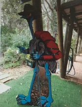 One of Wendy Binks' emu characters on the trail.