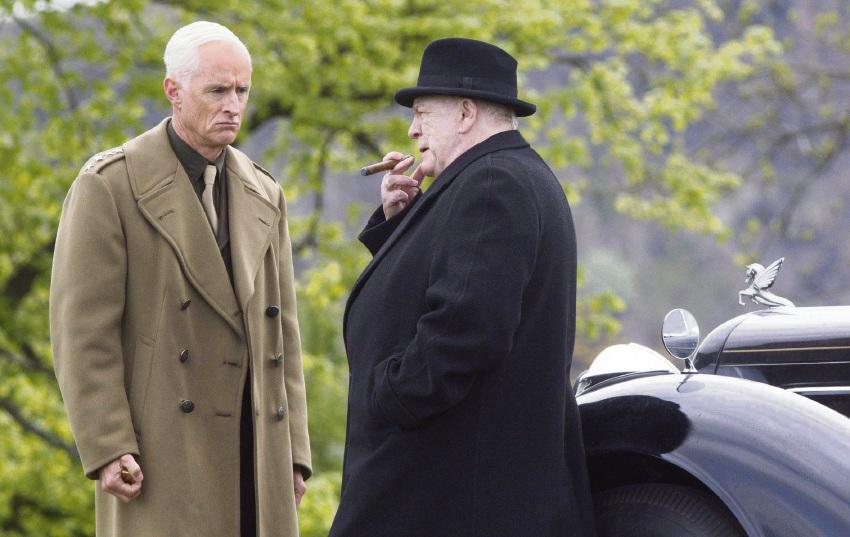 John Slattery and Brian Cox in Churchill.