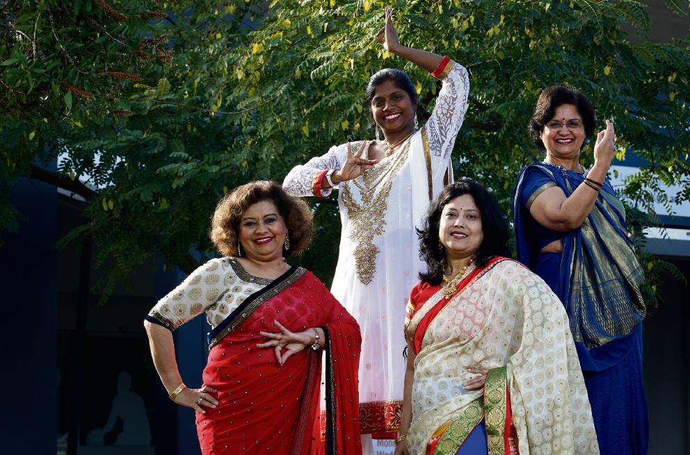 Bindiya Manchanda, Shama Yogesan, Sangita Bansal and Rajyashree Malaviya in their traditional saris. Picture: Marie Nirme