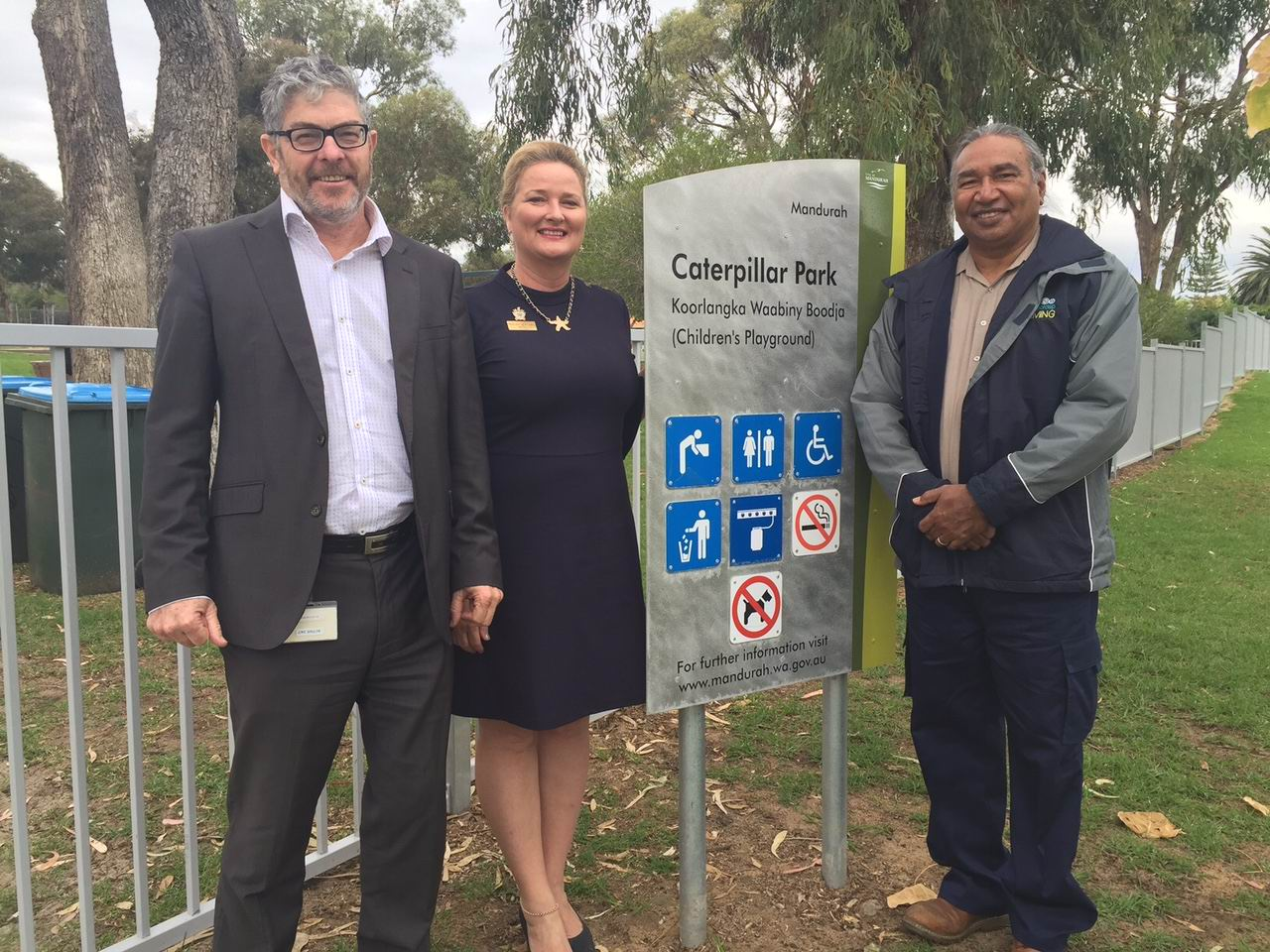 City of Mandurah chief executive Mark Newman, Mayor Marina Vergone and George Walley at the new sign.