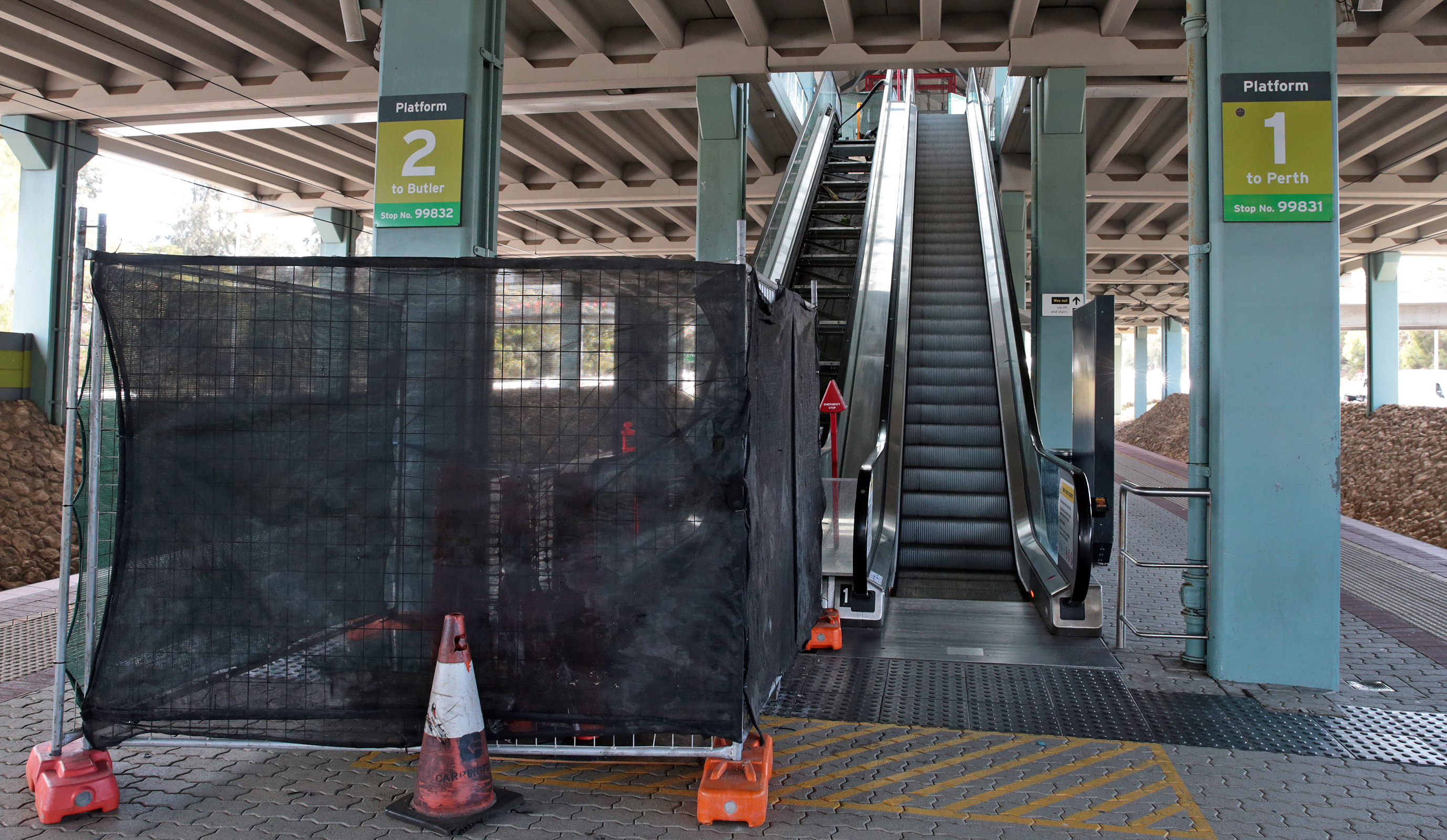 The broken escalator at Warwick train station. Picture: Martin Kennealey d470105