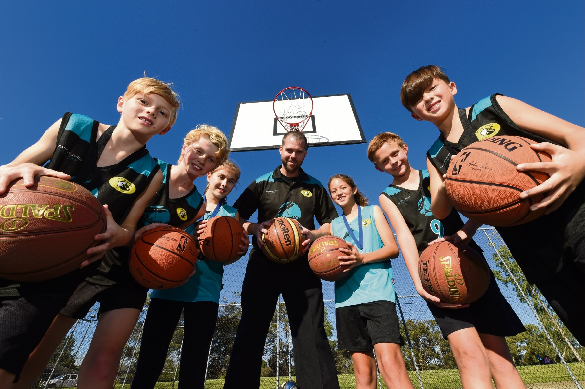 Jack Dowd, Brayden Darrington, Grace Bailey, Brad Dowd (coach), Chloe Hind, Brodie McLean and Cayden Shaw. Picture: Jon Hewson d469841