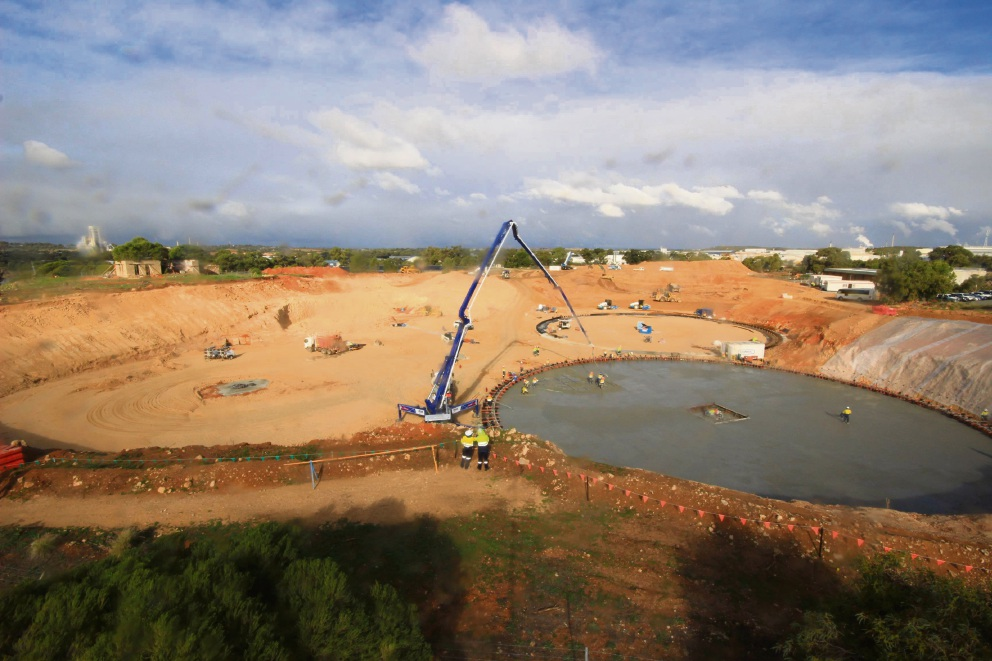 The first major concrete pour for the Woodman Point Wastewater Treatment Plant was done in late May.