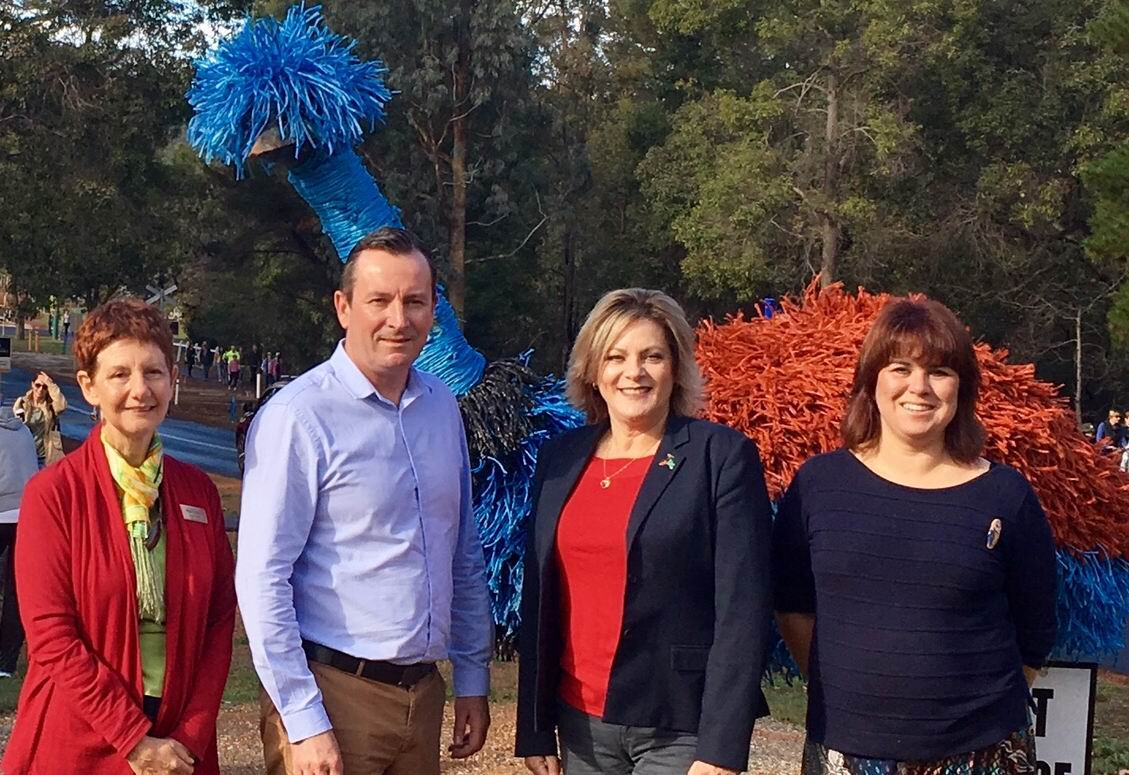 Forest Heritage Centre chair Sue Fyfe, WA Premier Mark McGowan, Murray MLA Robyn Clarke and Forest Heritage centre manager Shani Holster at the launch.