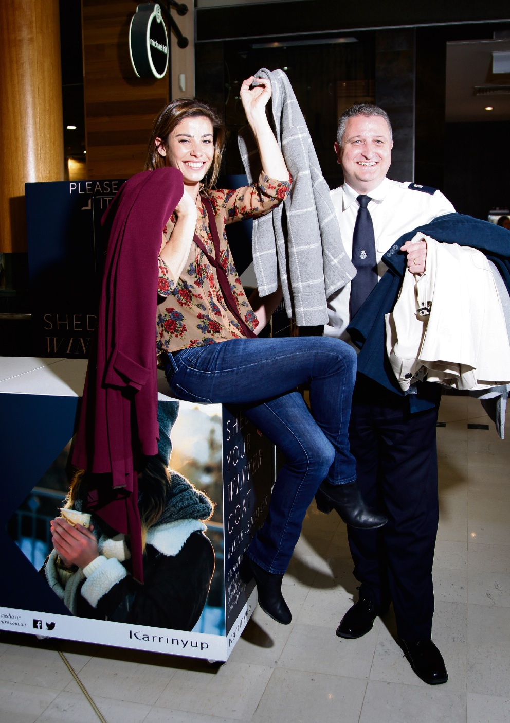 Brooke Satchwell and Warren  Palmer with coats for the appeal. Picture: Marie Nirme   d469937