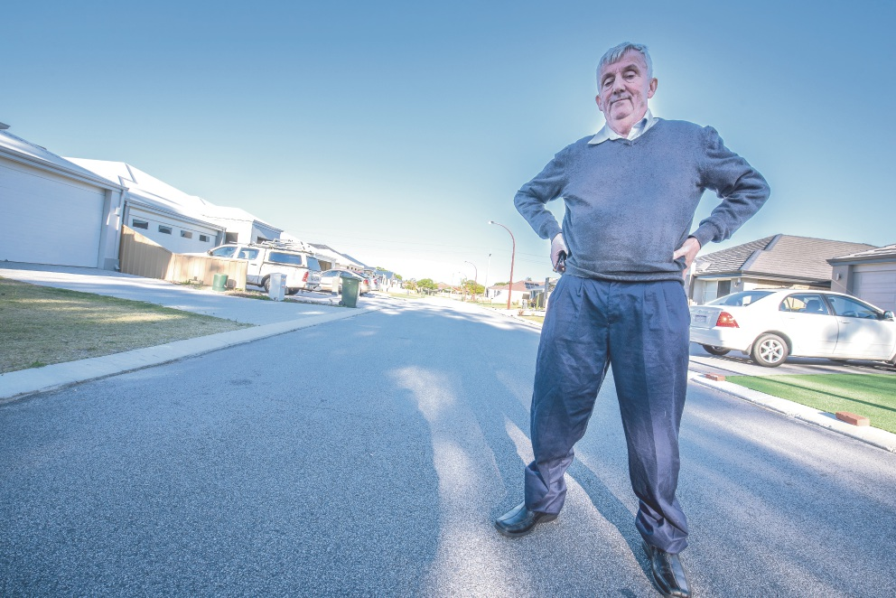 Desmond Bowers believes the lack of a footpath on Noyce Way in East Cannington is an accident waiting to happen.