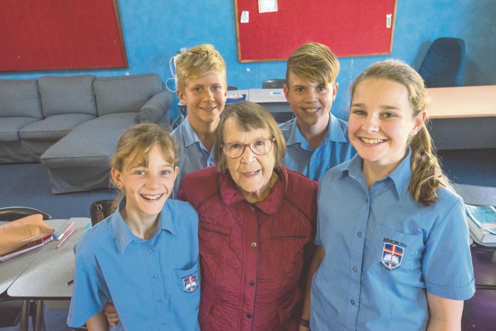 Anna Verkerk with her great-grandchildren Kayla Bongers (11), Riley Blennerhassett (12), Tristan Blok (12) and Nathalia |Kappert (12), who are in the same Year 7 class at Rehoboth |Christian College.