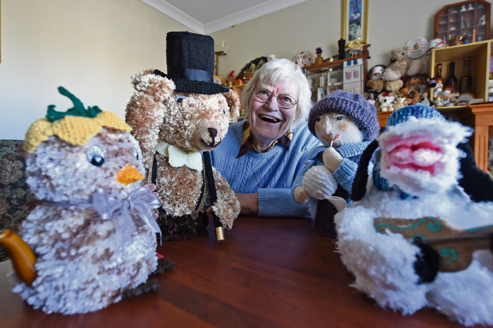 Mary Spencer with some tea cosies with a difference. Picture: Jon Hewson d454644