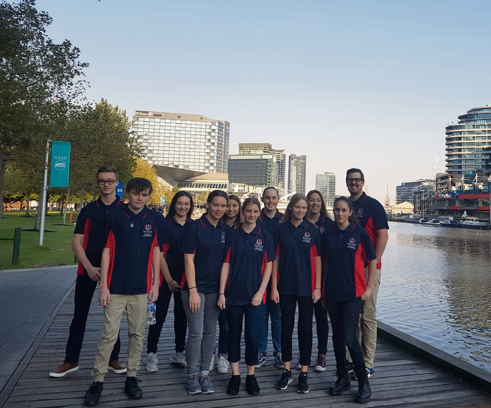 Teacher Nathan Trengove and students at the congress.