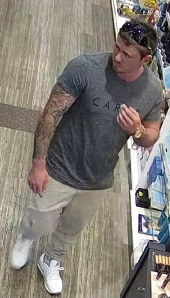 Police want to speak to this man in relation to a theft at at Midland pharmacy.