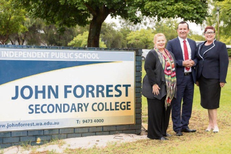 Education Minister Sue Ellery, Premier Mark McGowan and Maylands MLA Lisa Baker.